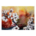 Japanese oriental cherry blossom flowers posters