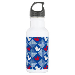 Japanese Origami Cranes Pattern (Orizuru) Stainless Steel Water Bottle