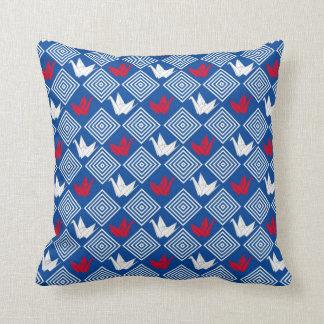 Japanese Origami Cranes Pattern (Orizuru) Throw Pillow