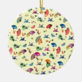 Japanese Origami Design Multi-Color Fans & Cranes Ceramic Ornament