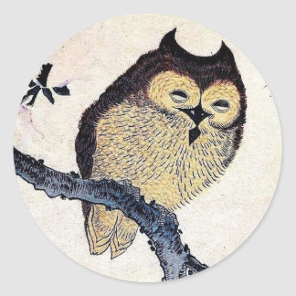 Japanese Owl Classic Round Sticker