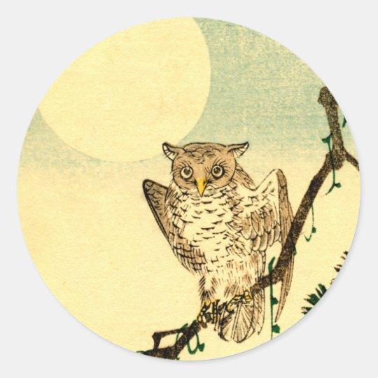 Japanese Owl no.1 Classic Round Sticker