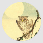 Japanese Owl no.1 Round Stickers