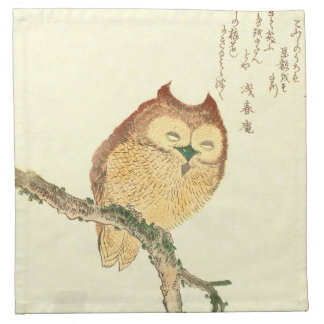 JAPANESE OWL ON A MAGNOLIA BRANCH Cloth Napkins