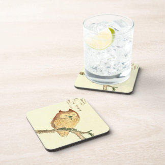 JAPANESE OWL ON A MAGNOLIA BRANCH COASTERS
