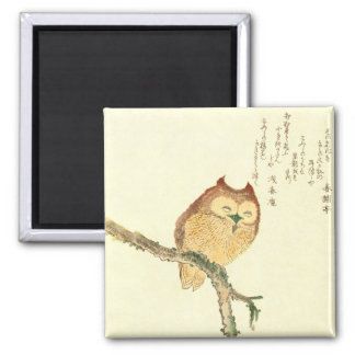 JAPANESE OWL ON A MAGNOLIA BRANCH Magnet