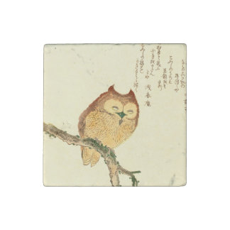 JAPANESE OWL ON A MAGNOLIA BRANCH Marble Magnet