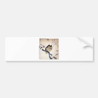 JAPANESE OWL WOODCUT ART BUMPER STICKER
