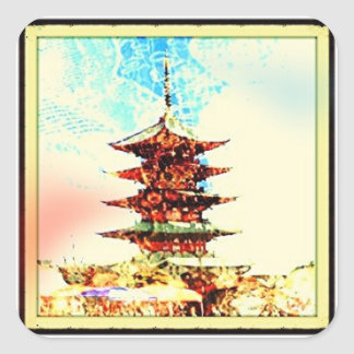 Japanese Pagoda Gift Wrapping Series Square Sticker