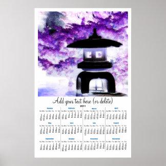 Japanese Pagoda in Purple  2011 wall  calendar Print