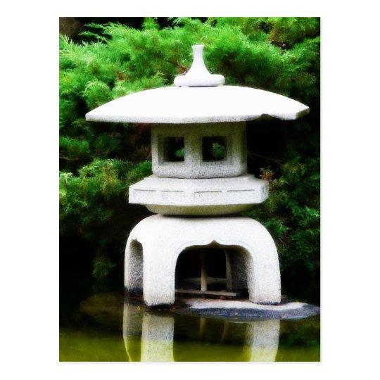Japanese Pagoda Lantern Style Garden Statue Postcard
