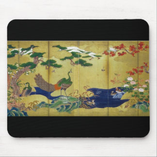 Japanese Painting c. 1500's Peacock Mousepad