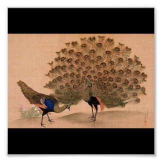 Japanese Painting c. 1781 Peacock Poster