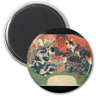 Japanese Painting c. 1800's 2 Inch Round Magnet