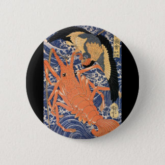 Japanese Painting c. 1800's Pinback Button