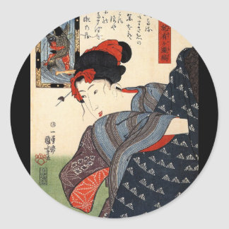 Japanese Painting c. 1800's Classic Round Sticker
