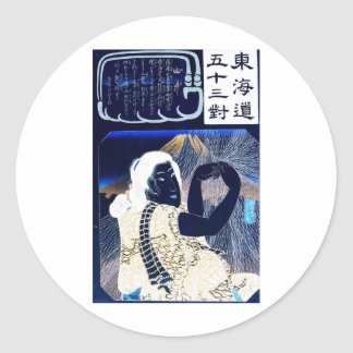Japanese Painting of woman and Mt. Fuji c. 1800's Classic Round Sticker