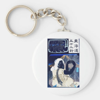 Japanese Painting of woman and Mt. Fuji c. 1800's Keychain