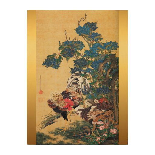 Japanese Painting Rooster New Year 2017 Wood Wood Wall Art