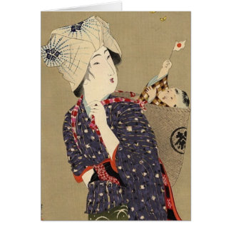Japanese Painting. Woman with baby c. 1909 Card