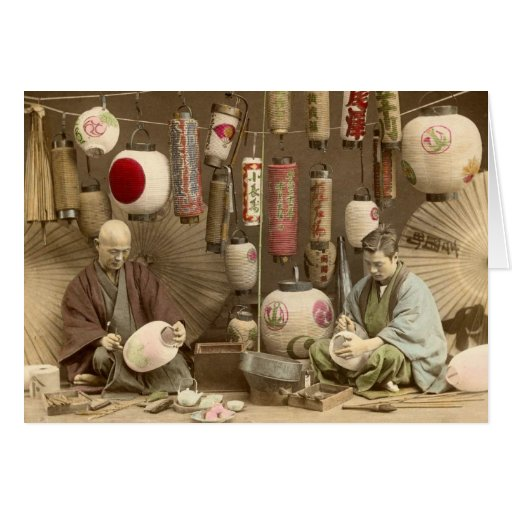 Japanese Paper Lantern Makers, Vintage Photo Greeting Card