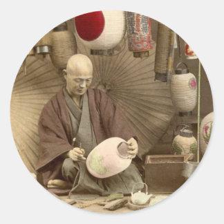 Japanese Paper Lantern Makers, Vintage Photo Classic Round Sticker