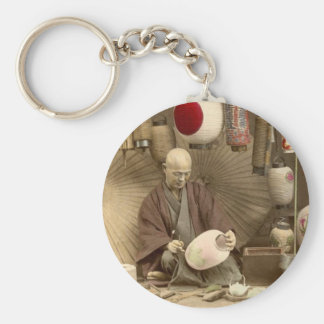 Japanese Paper Lantern Makers, Vintage Photo Basic Round Button Keychain