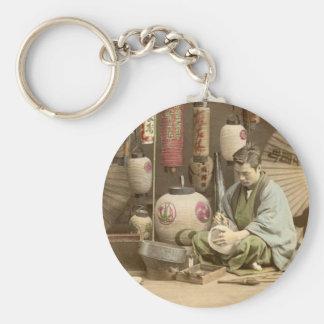 Japanese Paper Lantern Makers, Vintage Photo Keychain