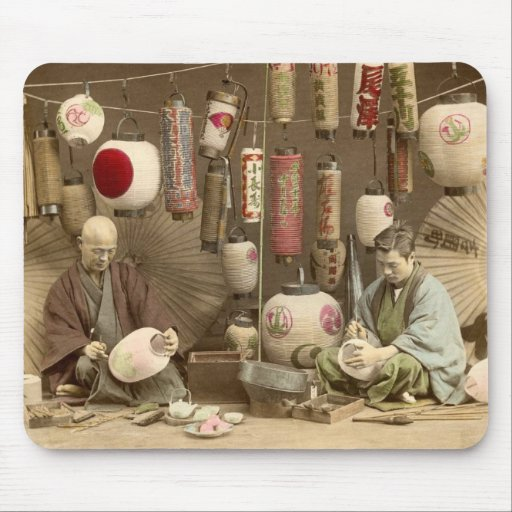 Japanese Paper Lantern Makers, Vintage Photo Mouse Pad