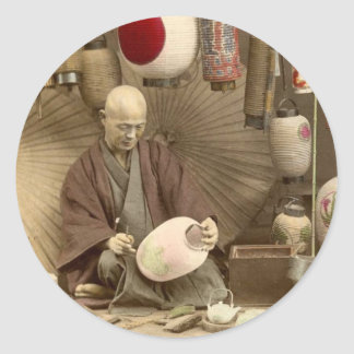 Japanese Paper Lantern Makers, Vintage Photo Sticker