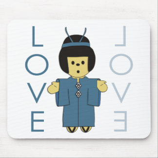 Japanese Paperdoll - Teal Mouse Mats