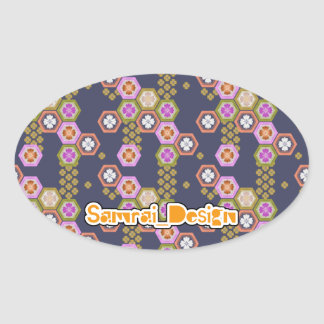 Japanese Pattern Oval Sticker