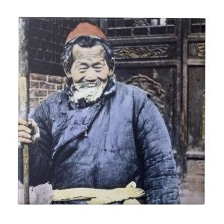 Japanese Peasant Herder Vintage Ceramic Tile