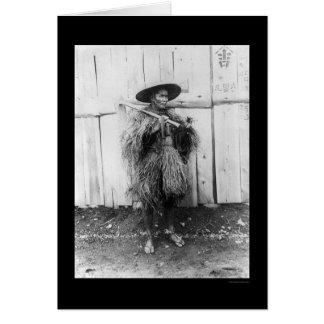 Japanese Peasant Wearing Straw Raincoat 1885 Card