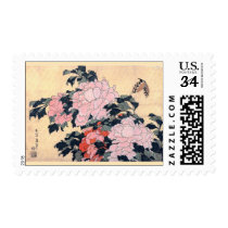 Japanese Peonies and Butterfly - after print by H. Postage