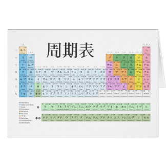 Japanese periodic table greeting card