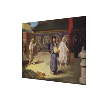Japanese Pilgrim returning from Mount Fusi Yama Canvas Print