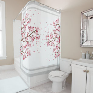 Anese Pink Cherry Blossoms Shower Curtain