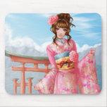 Japanese pink kimono alfombrilla de ratón