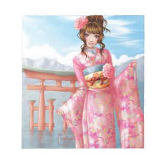 Japanese pink kimono blocs-notes
