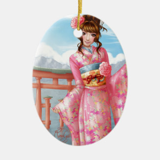 Japanese pink kimono ceramic ornament