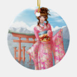 Japanese pink kimono ornamento para arbol de navidad