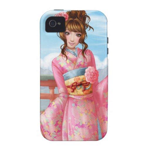 Japanese pink kimono iPhone 4/4S carcasa