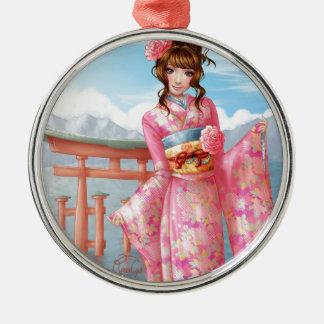 Japanese pink kimono metal ornament