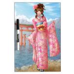 Japanese pink kimono pizarra blanca
