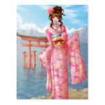 Japanese pink kimono postal