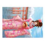 Japanese pink kimono tarjeta postal