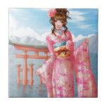 Japanese pink kimono tejas  ceramicas