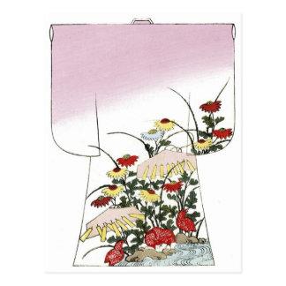Japanese Pink Kimono Woodblock design Postcards