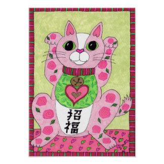 Japanese Pink Lucky Cat Maneki Neko Folk Art Poster